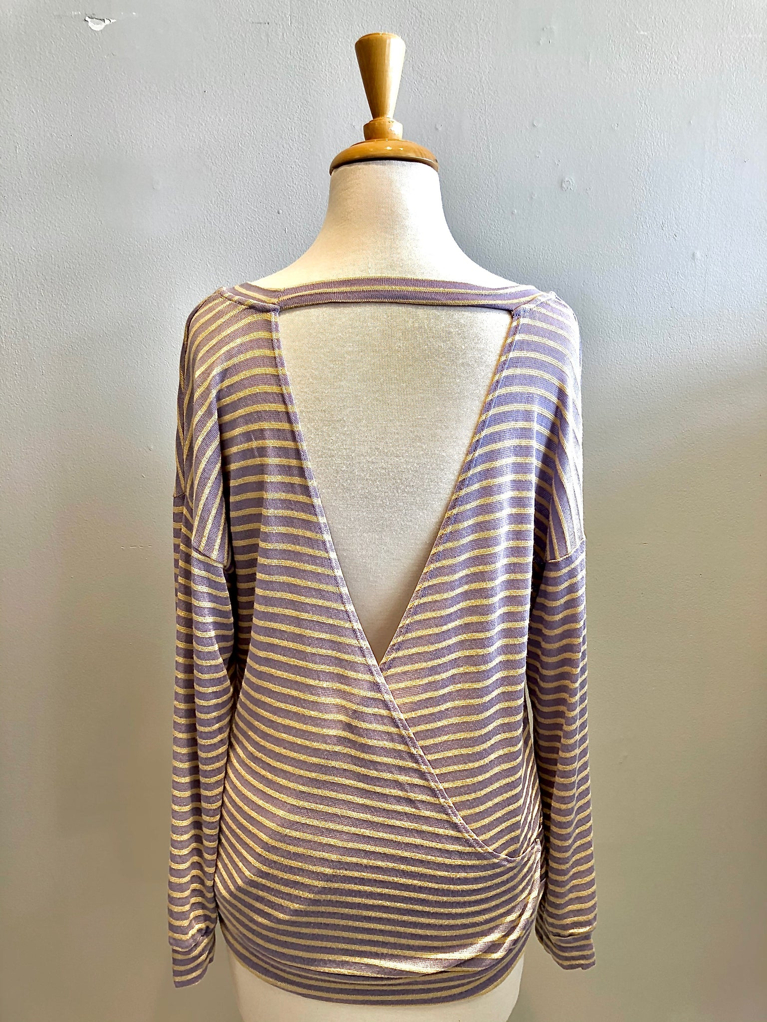 Blu Pepper Striped Open Back Knit Top - Showroom56