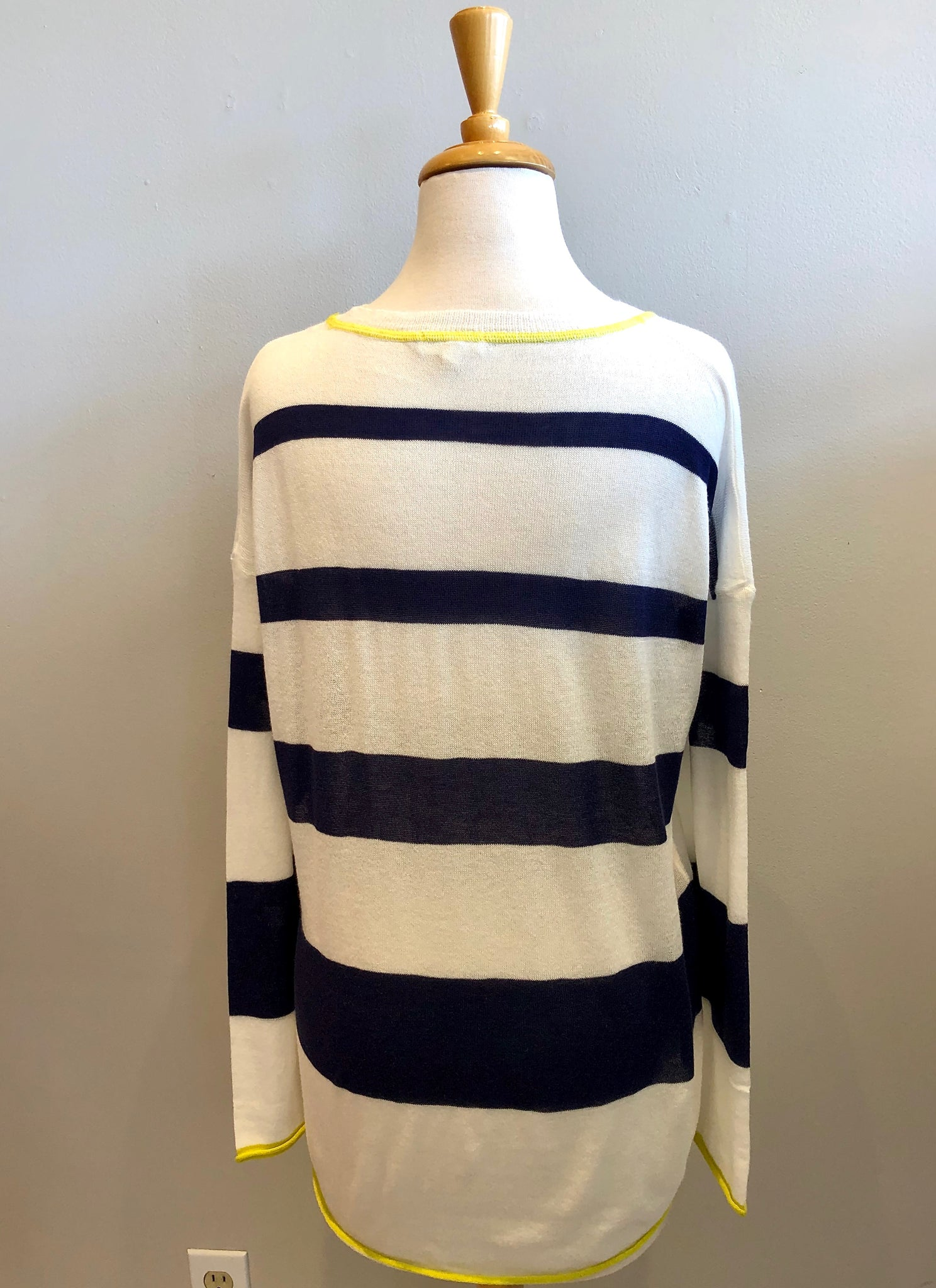 Mystree Reverse Cover Striped Sweater Top - Showroom56