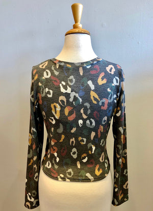 Paper Crane Cheetah Front Twist Top - Showroom56