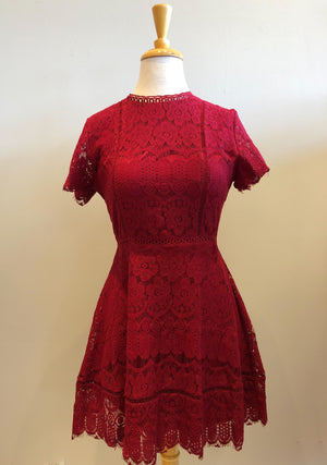 Blu Pepper Lace Dress With Scallop Trim - Showroom56