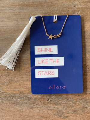 Ellora Triple Star Necklace - Gold on Positive Note Card - Showroom56