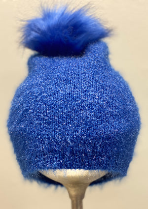 Look By M Shiny Feather Pom Pom Hat - Showroom56