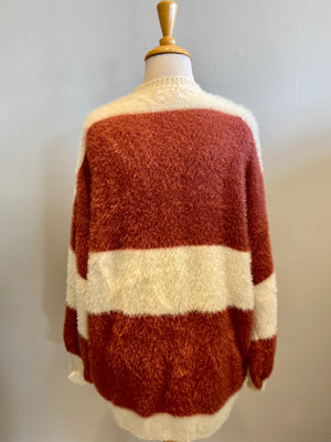 POL Fuzzy Striped Cardigan - Showroom56
