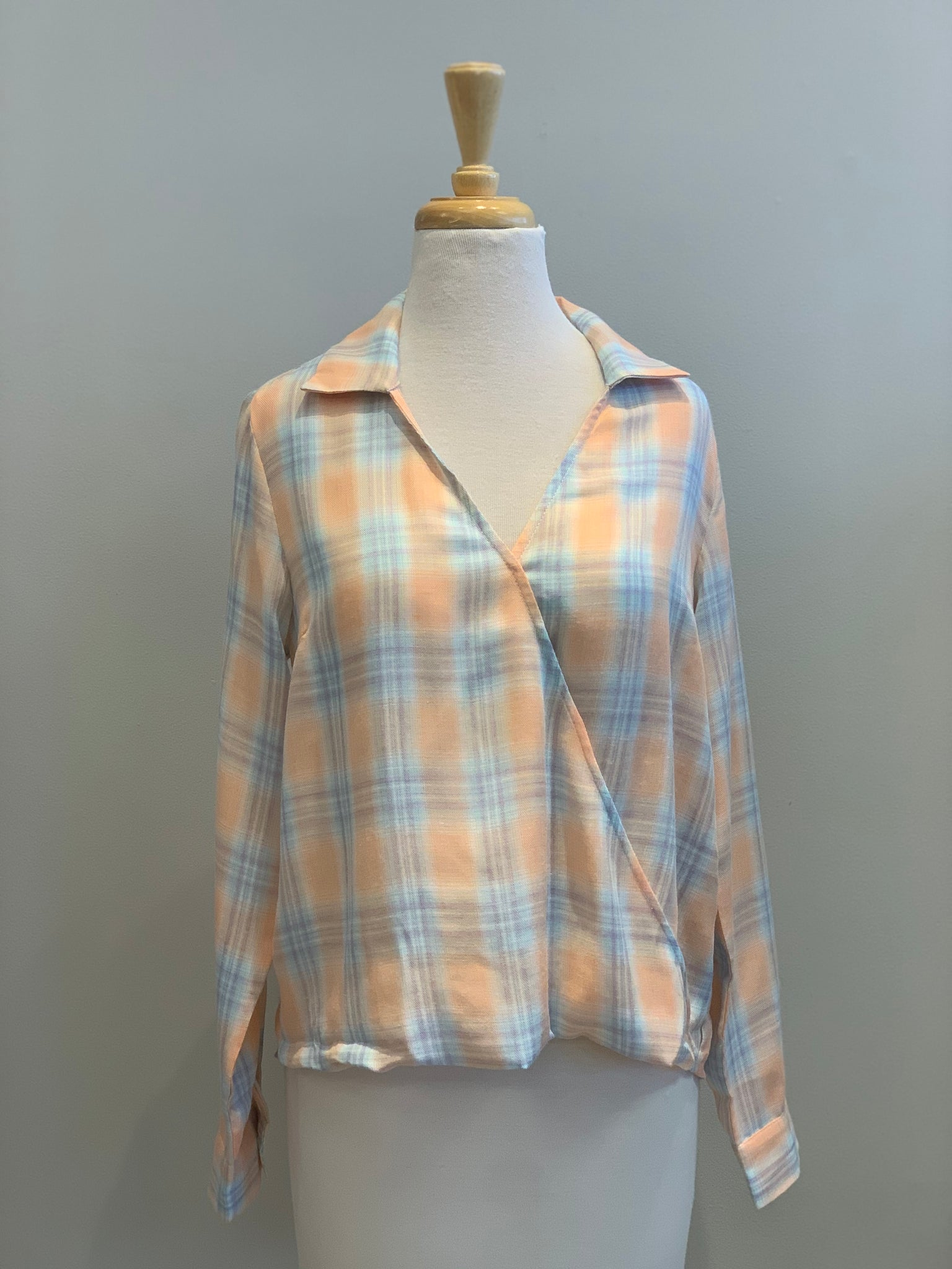 Hem & Thread Plaid Surplice Blouse - Showroom56