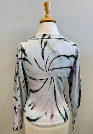 Vintage Havana Grunge Tie-Dye Raw Edge Thermal Crew - Showroom56