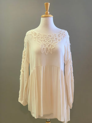 By Together Woven Rayon Gauze Lace Detailed Tunic - Showroom56