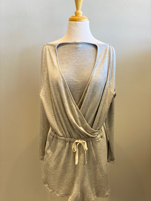 Long Sleeve Grey Romper