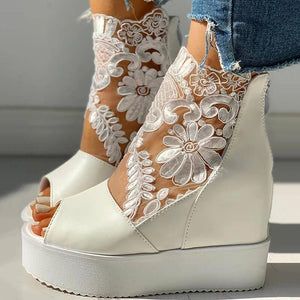 Buy Cheap Women Fashion Lace Hollow Out Wedge Sandals Online - Supsandal