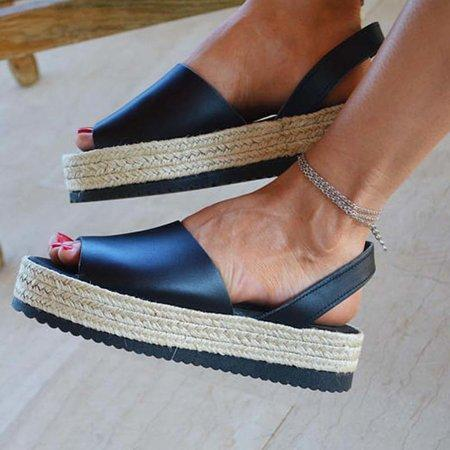 Buy Cheap Women PU Creepers Sandals Casual Back Strap Shoes Online - Supsandal