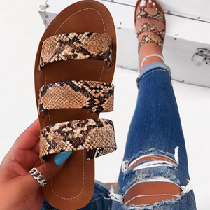 Buy Cheap 2020 New And Fashional Woman Snake Skin Flat Sandals Online - Supsandal