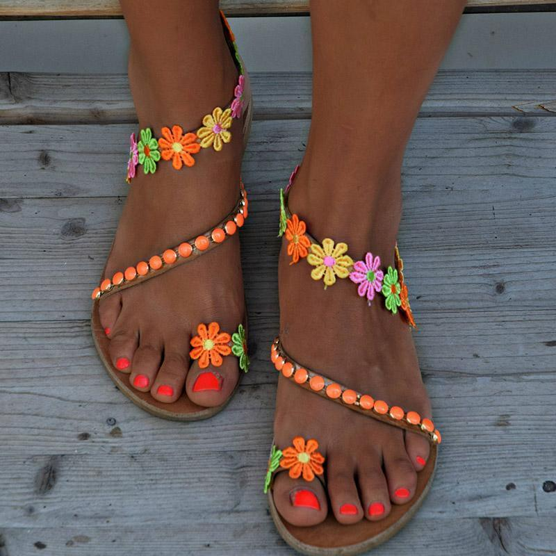 Buy Cheap Ladies Handmade Sweet Flower Ankle Strap Flip-flop Flat Online - Supsandal