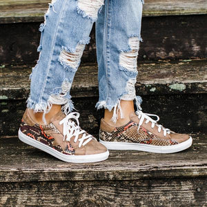 Buy Cheap Women Flat Heel  Lace Up Sneakers With Snake Skin Printed Online - Supsandal