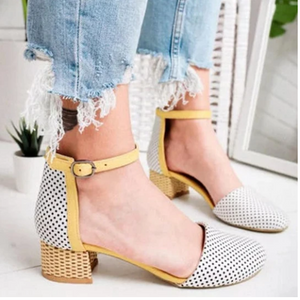 Buy Cheap 2020 New And Fashional Girly Sweet Color Block Hollow Ankle-Strap Sandals Online - Supsandal