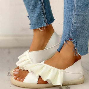 Buy Cheap Women Ruffles Cross-strap Comfy Flat Sandals Online - Supsandal
