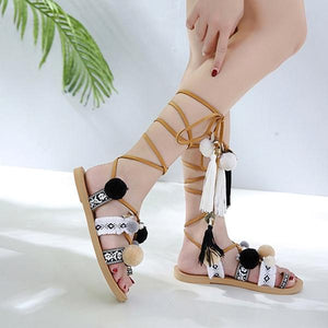 Buy Cheap Bohemia Style Fringed Pompoms Gladiator Sandals Cross Strap Tie up Flats Sandals Online - Supsandal