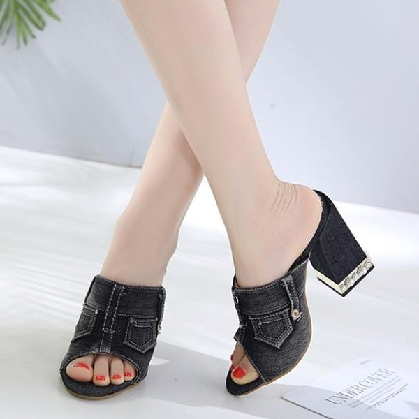 Buy Cheap Women Denim Peep Toe Sandals High Heels Thick High Heel Mules Sides Shoes Online - Supsandal