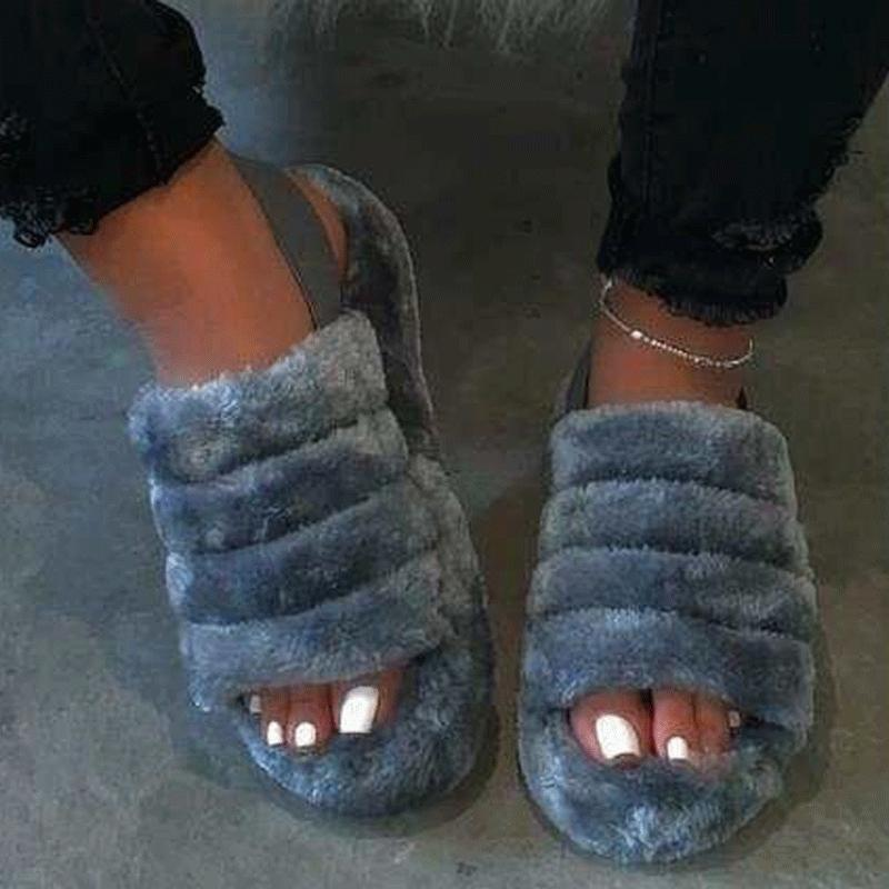 Buy Cheap Hairy open-toed comfortably worn home slippers Online - Supsandal