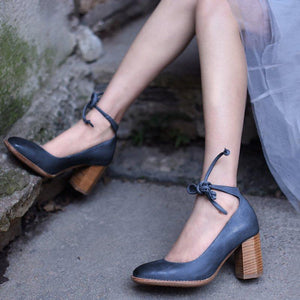 Buy Cheap Women's Elegant Chunky Heel Lace-Up Pumps Online - Supsandal