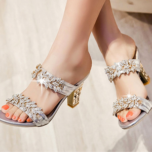 Buy Cheap Women Bling Open Toe Sandals Party Chunky High Heels Rhinestone Mule Slides Online - Supsandal