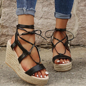 Buy Cheap Women Cross-Strap Lace Up Wedge Sandals Online - Supsandal
