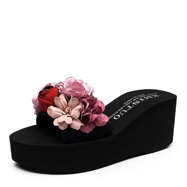 Buy Cheap Women Flower Platform Sandals Beach Slides Water-resistant High-heeled Shoes Online - Supsandal