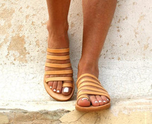 Buy Cheap Peep Toe Beach Sandals Strappy Roman Slippers Online - Supsandal