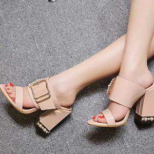 Buy Cheap Women Crystal Buckle Square Heel Sandals Mules Slippers Slides Shoes Online - Supsandal