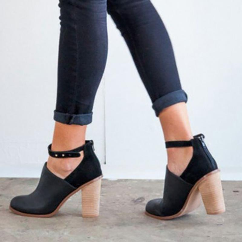 Buy Cheap Womens Black Heeled Boots Retro Ankle Strap Chunky Heel Ankle Booties Online - Supsandal