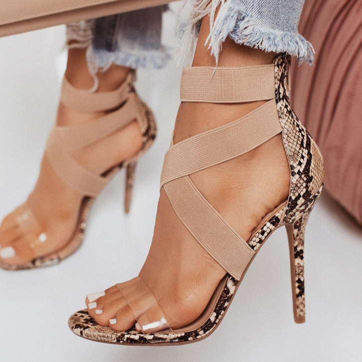 Buy Cheap Plus Size Woman Summer Snake Skin High Heel Sandals Online - Supsandal
