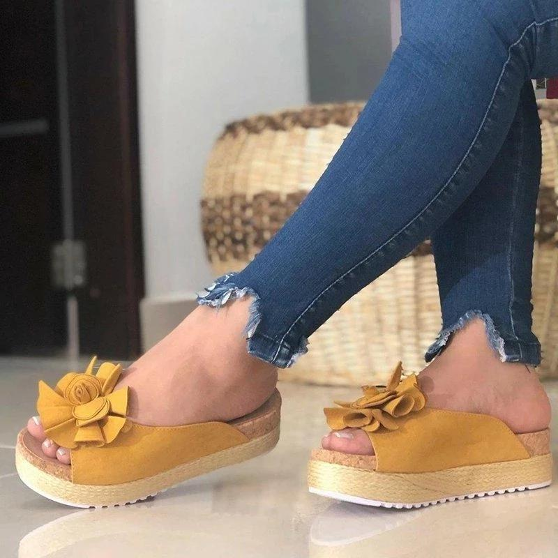 Buy Cheap Flower Espadrille Sandals Slip-On Peep Toe Women Platforms Online - Supsandal