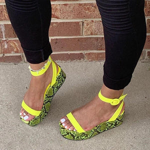 Buy Cheap Women Fashion Snakeskin Buckle Strap Muffin Sandals Online - Supsandal