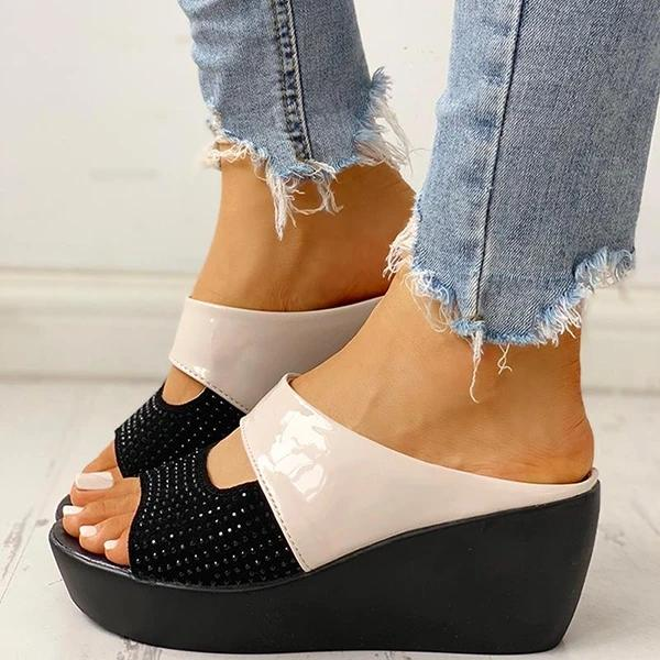 Buy Cheap Studded Muffin Wedge Sandals Online - Supsandal
