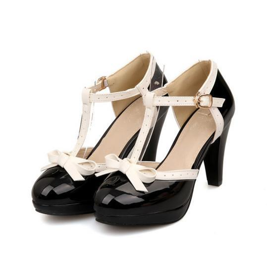 Buy Cheap Color Block Chunky High Heeled Round Toe Date Travel Platform Heels Online - Supsandal