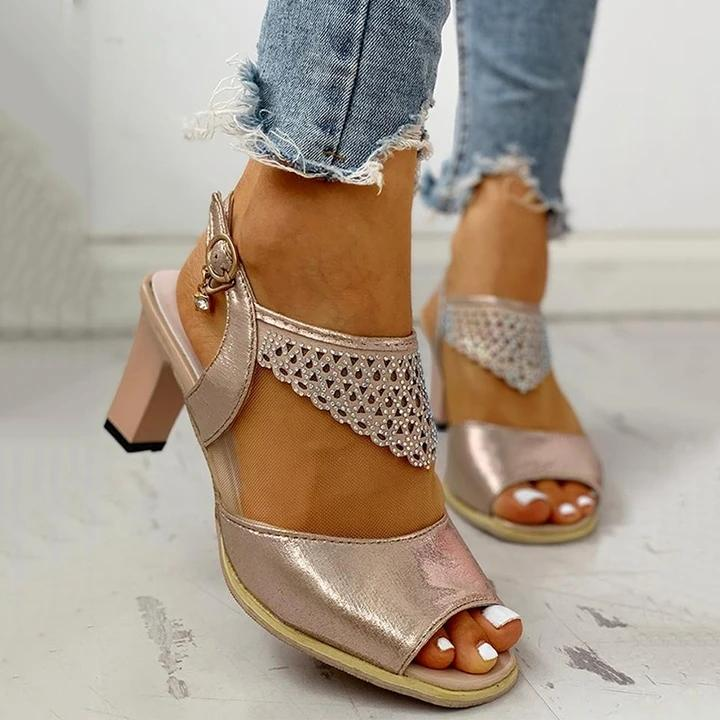 Buy Cheap Women Fashion Rhinestone High Heel Buckle Strap Sandals Online - Supsandal
