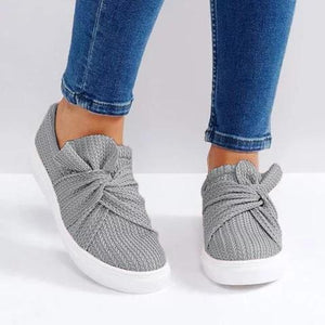 Buy Cheap Large Size Women Knitted Twist Pink Slip On Sneakers Online - Supsandal