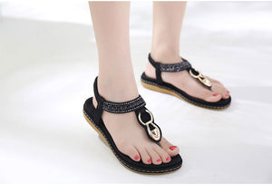 Buy Cheap New string bead flip flop metal decoration wedge beach sandals women Online - Supsandal