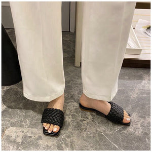 Buy Cheap Women Slipper Weave Fabric Summer Slides Outdoor Flat Sandals Online - Supsandal