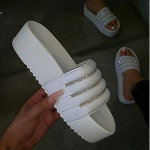 Buy Cheap Women's Slippers Slides Flat Platform Candy Color Outdoor Bling Beach Shoes Online - Supsandal