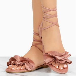 Buy Cheap Large Size Women Summer Flocking Flower Bandage Flat Sandals Women Slipper Shoes Online - Supsandal