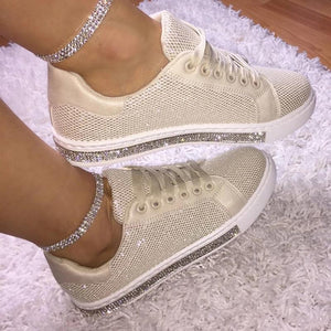 Buy Cheap Women's Fashion Solid Color Rhinestone Decorative Mesh Breathable Casual Shoes Online - Supsandal