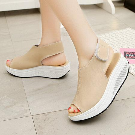 Buy Cheap Casual Microfiber Leather Wedge Heel Magic Tape Sandals Shoes Online - Supsandal