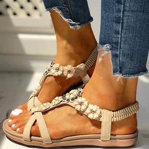 Buy Cheap Flower Embellished Flat Sandals Online - Supsandal