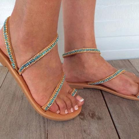 Buy Cheap Flat Heel Holiday Boho Toe Ring Sandals Online - Supsandal