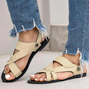 Buy Cheap Women Chic Solid Hollow out Flat Strap Sandals Online - Supsandal