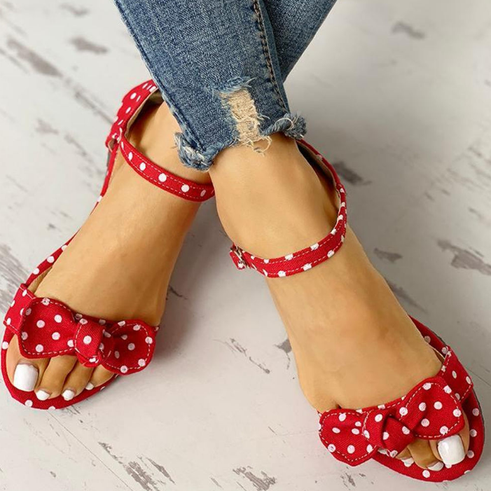 Buy Cheap Leisure Plus Sizes 44 Flip Flop Comfortable Flat Sweet Polka Dot Summer Women Sandals Online - Supsandal