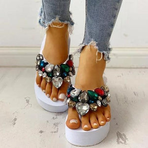 Buy Cheap Women Thong Sandals Wedge Heel Pvc Summer Rhinestone Slippers Online - Supsandal