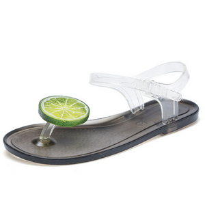 Buy Cheap Women's Fashion Transparent Strap Side Open Lemon Pattern Flat Beach Sandals Online - Supsandal