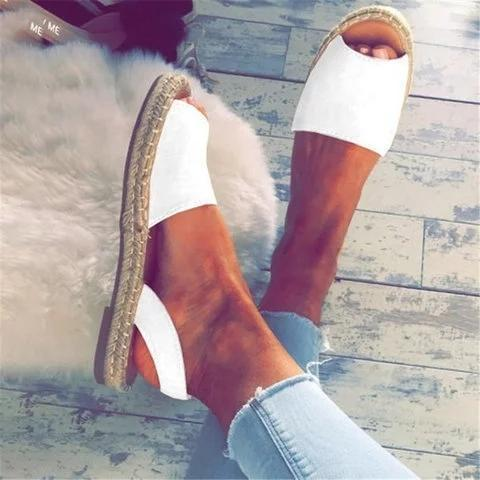 Buy Cheap Large Size Women Summer Espadrilles Fashion Peep Toe Flat Heel Sandals Online - Supsandal