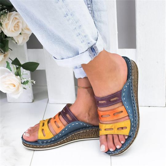 Buy Cheap Women Three-color Stitching Casual Low Wedge Heel  Peep Toe Sandals Slippers Shoes Online - Supsandal