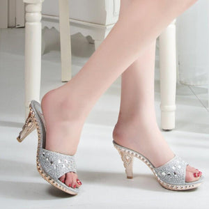 Buy Cheap Women Elegant High Heel Mules Slides Thick Heel Rhinestone Sandals Online - Supsandal